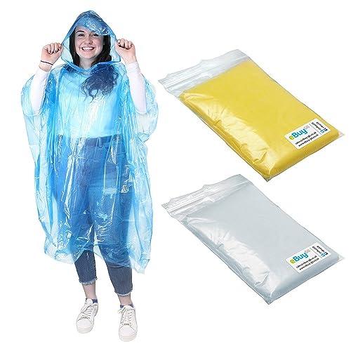 6e742ade48c05 eBuyGB Emergency Water Proof Rain Ponchos With Hoods