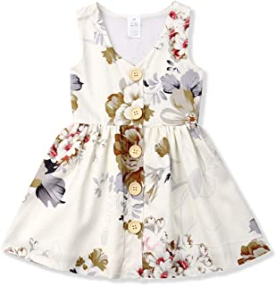 054fe86fe4ad Toddler Baby Girl Dress Princess Floral Skirt Sleeveless Button Party  Formal Dresses Girls Summer Clothes