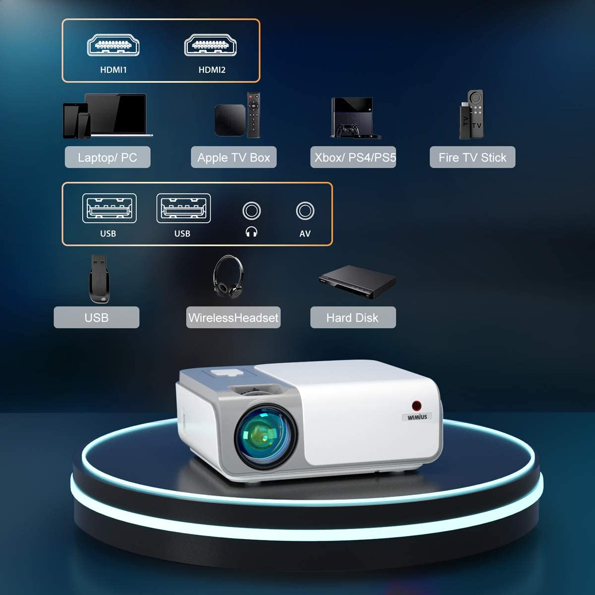 Native 1080P WiMiUS W1 WiFi Bluetooth Projector 8500L Full HD ...