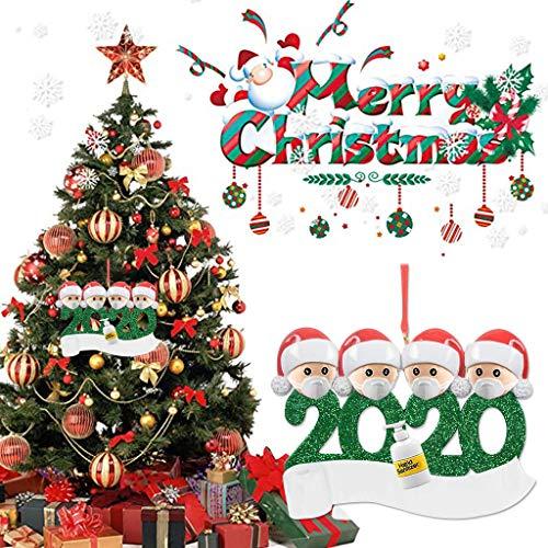 Ldiawnshi Adornos navideños 2020, 1 pieza de adorno navideño familiar de superviviente personalizado con cara Маsк muñeco de nieve árbol de navidad colgante colgante decoración navideña para la famili