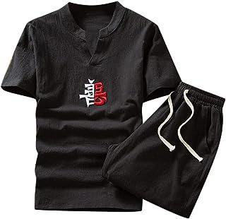 Lefthigh Fashion Men's Tracksuit Cotton Printed Short Sleeve Pants Casual Suit