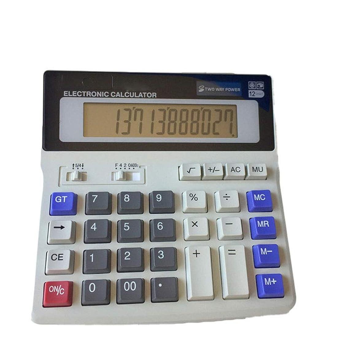 急流バイオリニスト飼いならす電卓 12桁 バッテリー デュアルパワー ハンドヘルド 電子 ビジネス ミニ ソーラー ベーシック デスクトップ 金融 科学的 オフィス 電卓 シンプルなデスク 電卓 大きなLCDディスプレイ付き