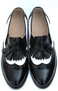 Women's Low Block Heel Round Toe Oxford Shoes Wingtip Brogues Tassels Vintage Casual Slip On Oxfords