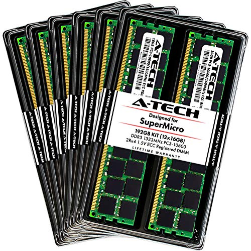 A-Tech 192GB (12 x 16GB) DDR3 1333MHz ECC RDIMM Memory Kit for SuperMicro Super X8DTU-6F+, X8DTU-6TF+, X8DTU-6F+-LR, X8DTU-6TF+-LR - PC3-10600 Registered DIMM 2Rx4 1.5V Dual Rank RAM Upgrade Modules