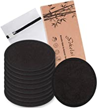 Reusable Makeup Remover Pads 10 Pcs 2-Layer 3.15 inch black Washable Eco-friendly Natural Organic Bamboo Cotton Round Pads...
