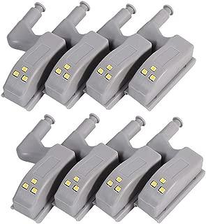HONGCI 8 PCS Luz Universal Gabinete Armario Bisagra LED, Lámpara Nocturna con Sensor, ideal para Dormitorio Habitación Baño Cocina Pasillo