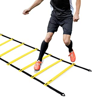 Ohuhu Agility Ladder, Speed Training Exercise Ladders for Soccer Football Boxing Footwork Sports Speed Agility Training with Carry Bag,20ft 12 Rung,Yellow