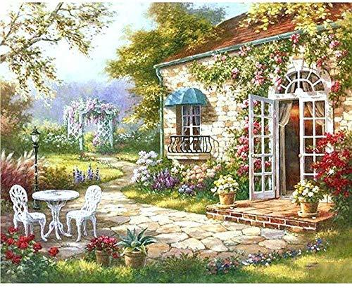 Pintura por números para adultos y niños Bricolaje silla de jardín de estilo europeo Pintura al óleo Regalo Arte de lienzo preimpreso Decoración del hogar No incluye marco de madera 16x20 pulgadas
