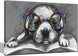 sechars - Animal Painting Wall Art Cute Lazy Dog in Glasses Reading Book Art Canvas Prints Funny Puppy Poster for Bedroom Home Office Kids Room Decor Gallery Canvas Wrapped Ready to Hang