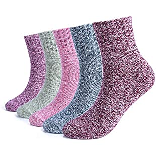 Customer reviews 5 Pairs Women Winter Knitting Thicken Warm Cotton Socks Thermal Socks Assorted Patterns UK 4.5-7.5 EU 35-40