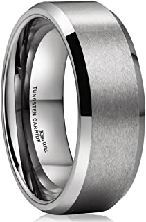 King Will Basic Unisex 8mm Silver/Black Tungsten Carbide Matte Polished Finish Wedding Engagement Band Ring