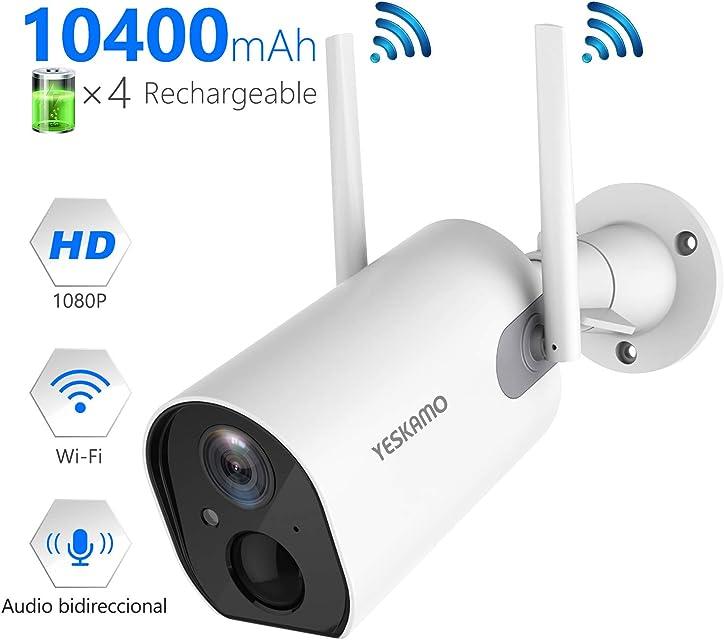 YESKAMO Cámara de Vigilancia de Batería Interior/Exterior Inalámbrica HD 1080P Cámara IP WiFi con Detección de Movimiento Audio Bidireccional para Seguridad en El Hogar