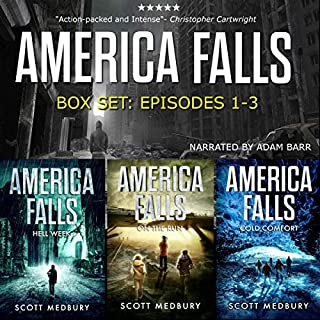 The America Falls Series: Books 1-3     America Falls Box Set 1              By:                                                                                                                                 Scott Medbury                               Narrated by:                                                                                                                                 Adam Barr                      Length: 16 hrs and 19 mins     571 ratings     Overall 4.4