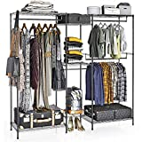 VIPEK 5 Tiers Wire Garment Rack Heavy Duty Clothes Rack Portable Clothes Wardrobe Compact Extra Large Armoire Storage Rack Metal Clothing Rack, 74.4'L x 17.7'W x 76.8'H, Max Load 595.35LBS, V6 Black