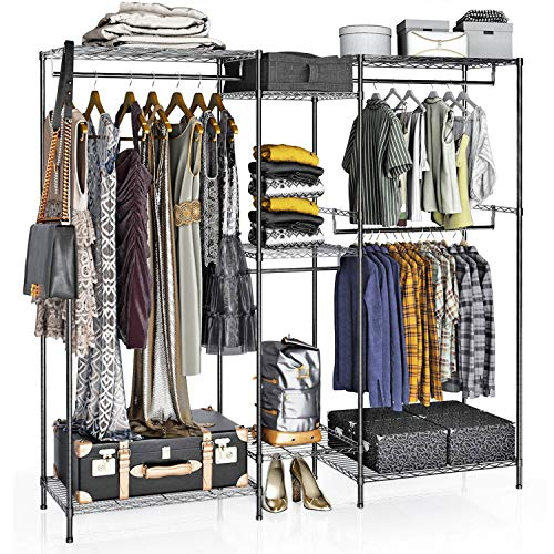 VIPEK 5 Tiers Wire Garment Rack Heavy Duty Clothes Rack Clothes Wardrobe Compact Extra Large Armoire Storage Rack Metal Clothing Rack, 74.4'L x 17.7'W x 76.8'H, Max Load 595.35LBS, V6 Black