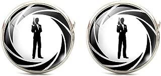 James Bond Classic 007 Logo Glass Domed Cufflinks