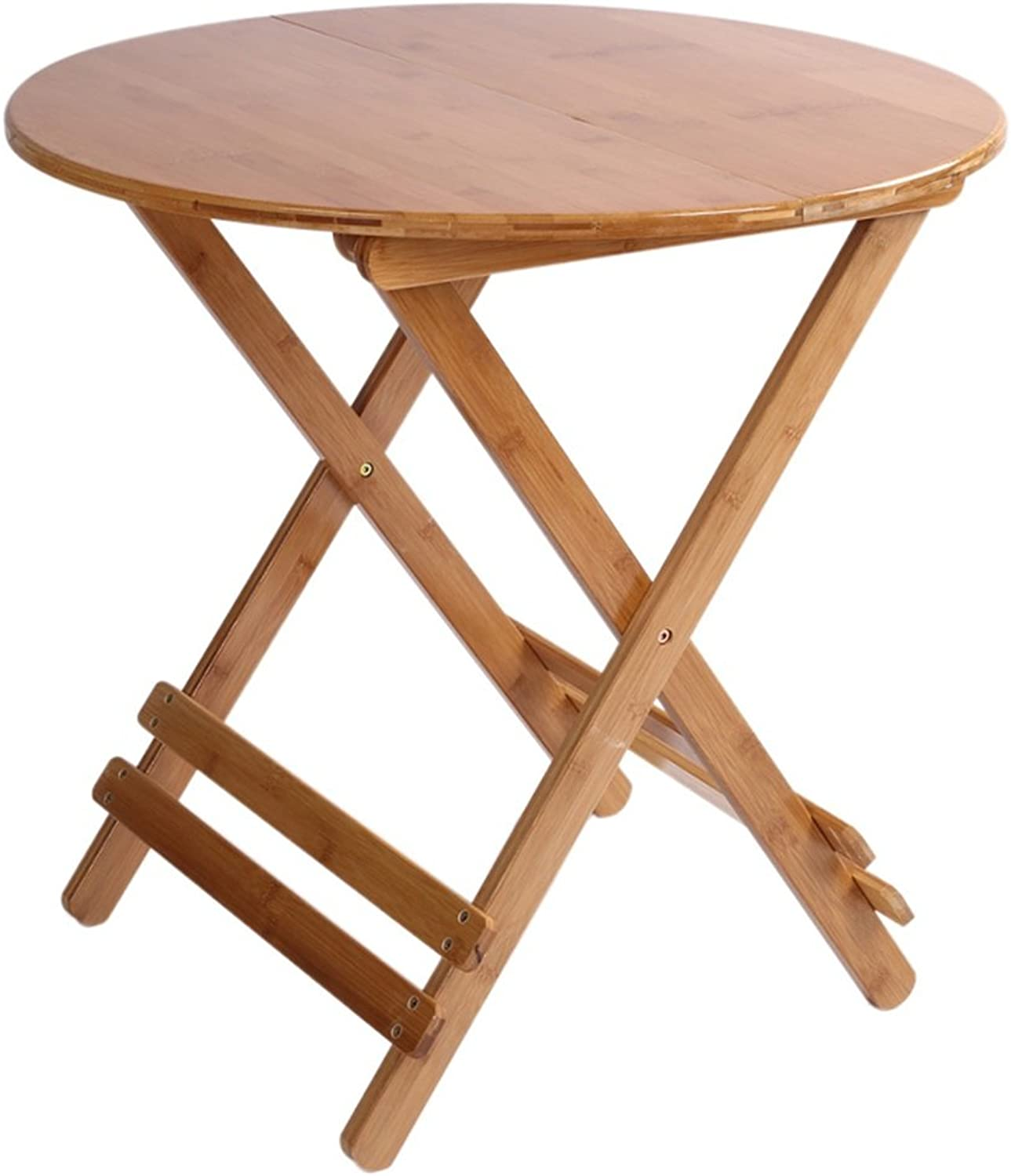 Tables Folding Table Bamboo Portable Dining Table Garden (color   Round table-58X50CM)