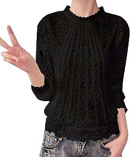f1c3fc19e2c Blusa Encaje Elegante Mujer Vintage Camisas Manga Larga Cuello Redondo  Hueco Fiesta Slim Fit Camisetas Primavera