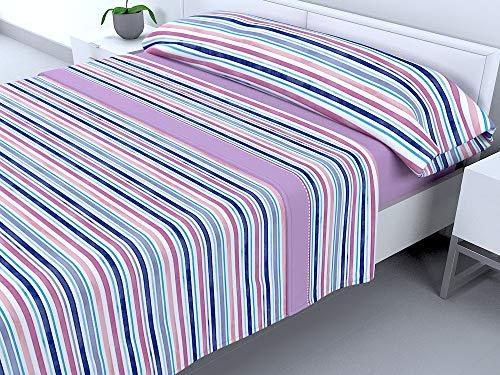 Cabello Textil Hogar - Juego de sábanas térmicas de Pirineo - 3 Piezas - 110 Gr/m2 - Mod. Rayitas (Malva, 150_x_190/200 cm)