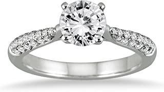 AGS Certified 1 Carat TW Pave Diamond Ring in 14K White Gold (H-I Color, I1-I2 Clarity)