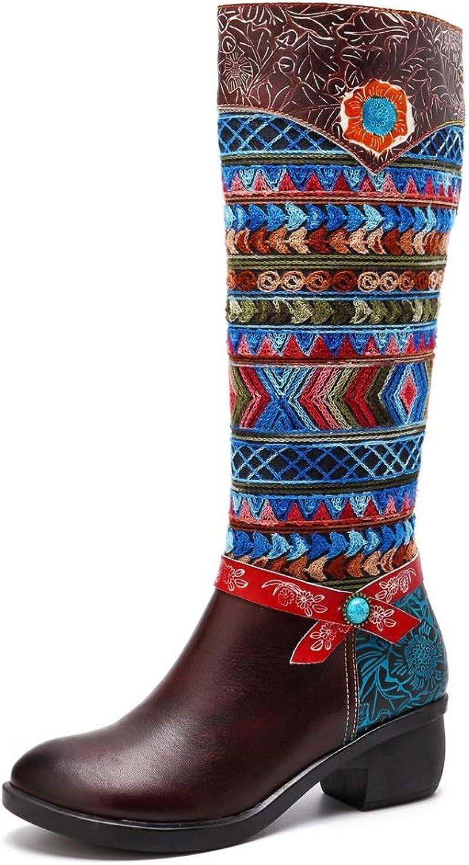 Easy Go Shopping Damenstiefel Vintage Ethnic Style Leder und Knie Damenstiefel Kontrastfarbe Bhmisch,Grille Schuhe