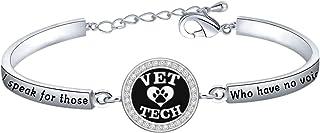 WUSUANED Vet Tech Bracelet I Speak for Those Who Have No Voice Veterinarian Gift for Vet Nurse Pet Lovers Pet Paw Print Je...