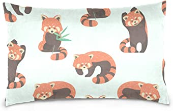 Mydaily Cute Red Panda Throw Pillow Case Cotton Velvet Rectangular Cushion Cover 20x36 inch
