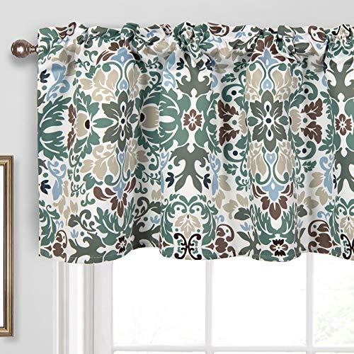 Th3mys Allover Abstract Floral Leaves Patterned Curtain Valances for Windows, Mystic Forest Floral Nature Printed Valance for Living Room Kitchen Rod Pocket 52 Inch by 18 Inch Green/Brown