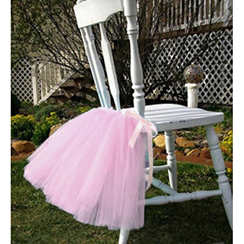 Tulle Tutu Table Chair Skirt for Wedding Birthday Party Baby shower Decoration (Pink, Chair Skirt)