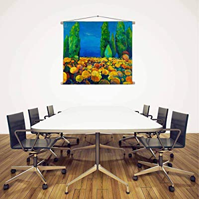 ArtzFolio Artwork of Green Trees & Yellow Flowers Canvas Fabric Painting Tapestry Scroll Art Hanging 29.7inch x 24.7inch (75.4cms x 62.7cms)