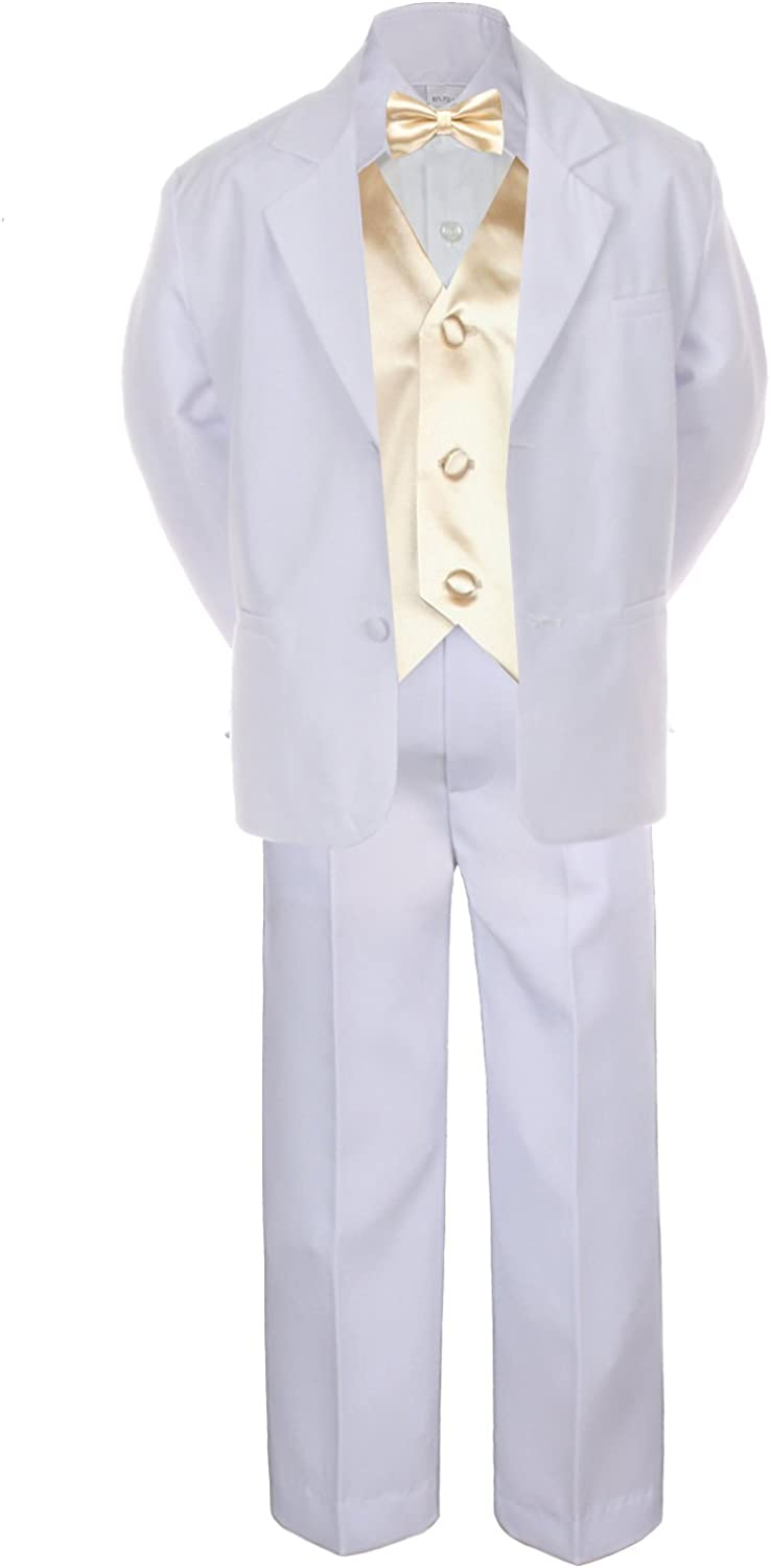 7pc Champagne Limited Special Price Vest Bow Tie Boy Kid Formal Toddler White Sui Super Special SALE held Baby