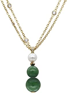 STELLIA Totem Spheres Pearl and Jade Necklace Gold Plated Chain