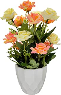 UIKKOT Artificial Rose Bouquets with Plastic Vase Fake Silk Rose Flowers Arrangement for Decoration Home Table Party Office Wedding (Pink and Yellow- Medium Size)