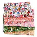 FORYOURS - Tela de algodón para patchwork con flores, retales, algodón, 5 unidades