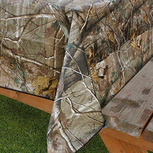 Realtree Design Imports AP PEVA Vinyl Tablecloth Flannel Backed Camouflage Print Indoor Outdoor 60-Inch Round