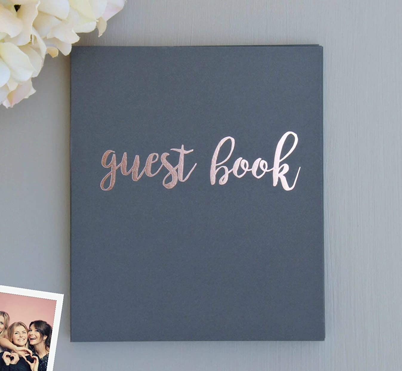 Rose Gold & Grey Guest Book for Polaroid Pictures   130 Pgs (65 Sheets) 8.5