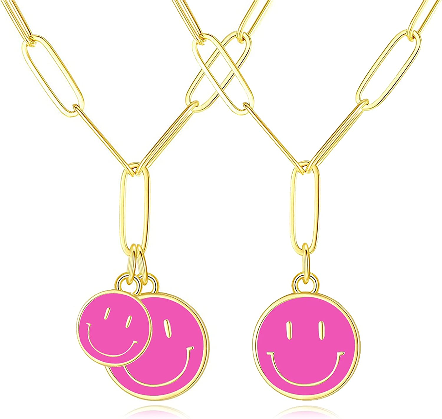 2PCS Smiley Face Necklaces Set,Gold Stainless Steel Paperclip Chain Simple Round Smiley Face Necklace Charm Lady Girlfriend Wedding Birthday Anniversary