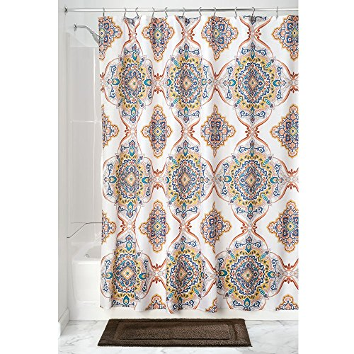 Price comparison product image iDesign Henna Medallion Shower Curtain,  Polyester Shower Screen with Floral Print Design,  Multi-Colour,  183 cm X 183 cm