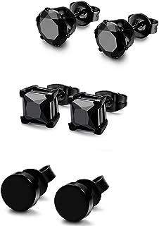 FIBO STEEL 3 Pairs Stainless Steel Black Stud Earrings for Men Women CZ Earrings, 3mm-8mm Available