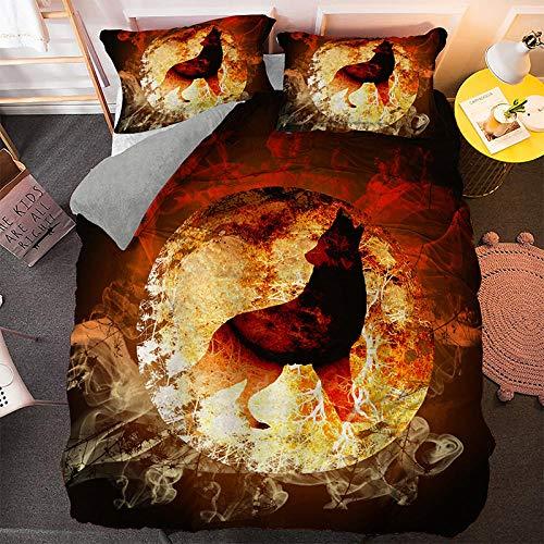 HGFHGD Bettwäsche-Set, Motiv: Flamme und Mond, Wolfsmuster, 3D-Bettbezug für Erwachsene, Studenten, großer Bettbezug und Kissenbezug