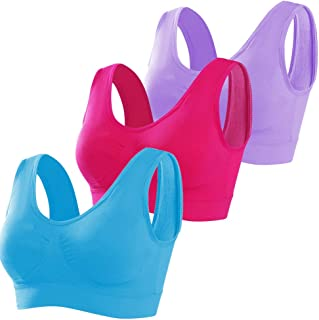 NanaDay Women's 3-Pack Seamless Wireless Bras with Removable Pads Comfortable Sports Bra