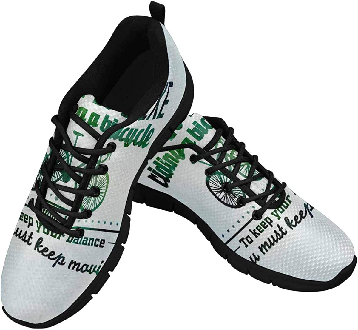 INTERESTPRINT Inspirational, Encouraging Word Women's Lightweight Athletic Casual Gym Sneakers