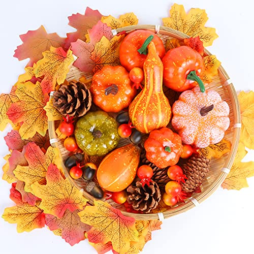 Thanksgiving Artificial Pumpkins Decoration, Mini Autumn Harvest Fake...