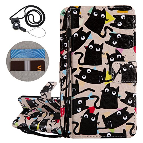 Coopay Animaux Motif Chat Noir Coque Huawei P Smart (2017) 5.65\