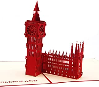 Creative 3D Greeting Card Handmade Paper Carved Hollow Birthday Architecture Big Ben Red