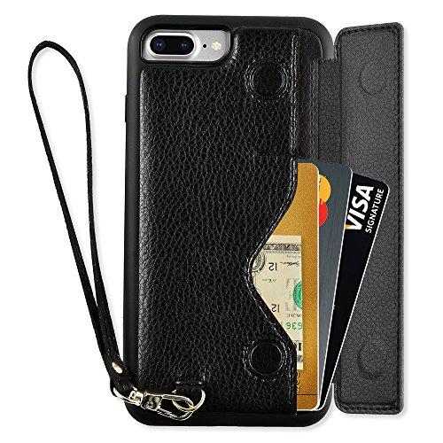 iPhone 7 Plus Wallet Case, ZVEdeng iPhone 8 Plus Wallet Case, iPhone 7 Plus Card Holder Case, iPhone 8 Plus Case with Card Holder, iPhone 7 Plus Case with Card Slot and Money Pocket - Black