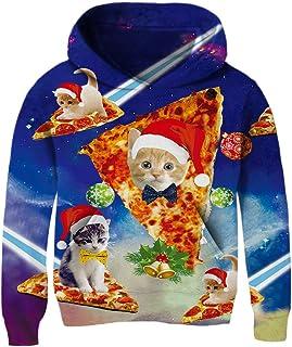 TUPOMAS Boys Girls 3D Print Graphic Pullover Hoodies Fleece Sweatshirts Long Sleeve Teen Tops with Pockets 3-12 Years Old