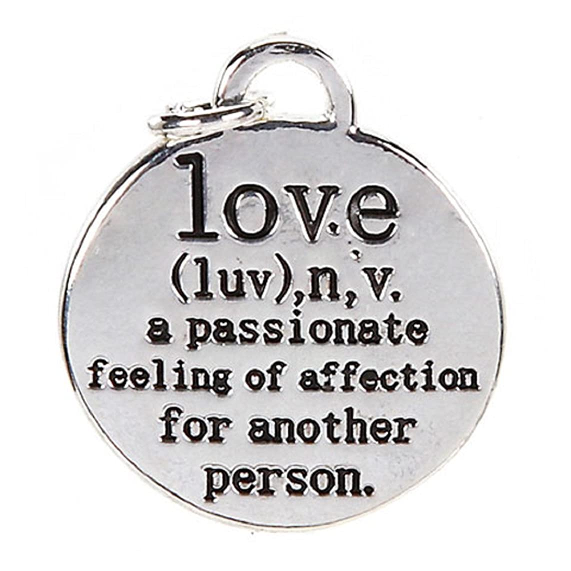 Charm, Definition of Love, Sterling Silver Plated, 18mm, 1pc Pkg