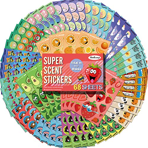 HORIECHALY Scratch and Sniff Stickers, 68 Sheets 17 Different Scents, Best Choice for Kids & Teachers & Parents as Reward Stickers, Gift, Party Favor, Goodie. Awesome Smelly Stickers.