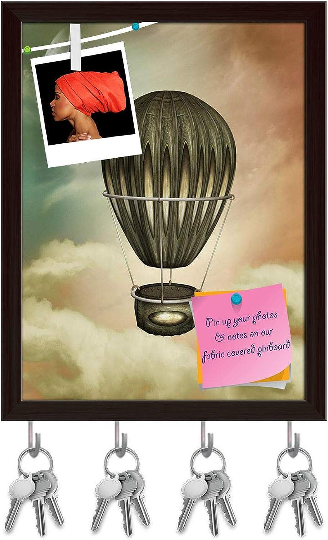 Artzfolio Air Balloon with Moon Key Holder Hooks   Notice Pin Board   Dark Brown Frame 6 X 7.7Inch